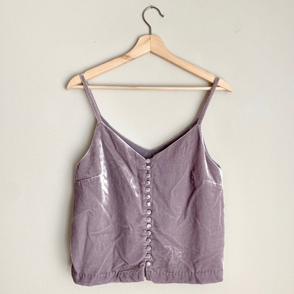 1c00f673ab6e31 Madewell Tops - Madewell Lavender Velvet Button Down Cami Tank Top